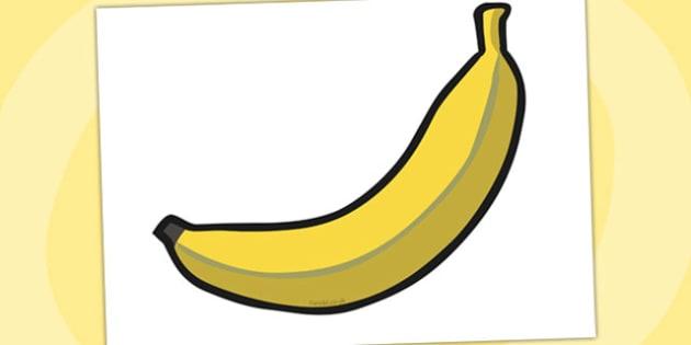 A4 Display Banana - banana, display banana, fruit, display fruit, cut out fruit, cut out banana, large banana, healthy eating, heathy food, five a day