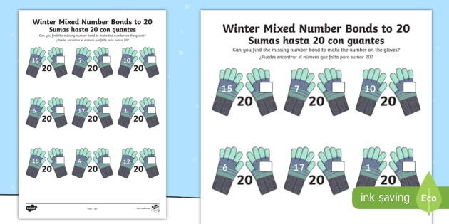 NEW * Winter Themed Mixed Number Bonds to 20 Worksheet /