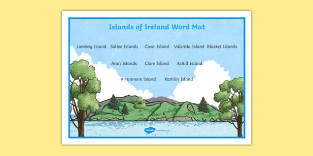 Islands of Ireland Word Mat-Irish