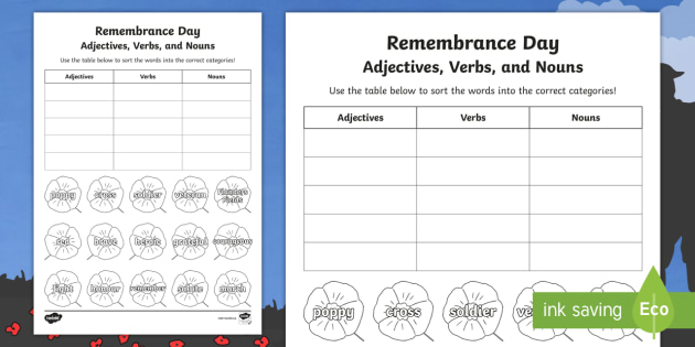 Remembrance Day Adjectives Verbs And Nouns Worksheet