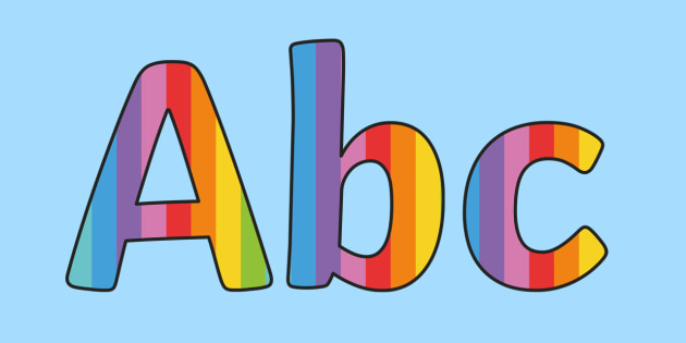 Mulitcoloured Stripe Themed Size Editable Display Lettering