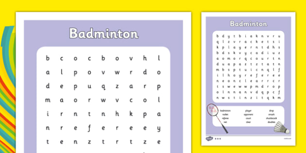 Rio 2016 Olympics Badminton Word Search - rio 2016, rio olympics, 2016 olympics, badminton, word search