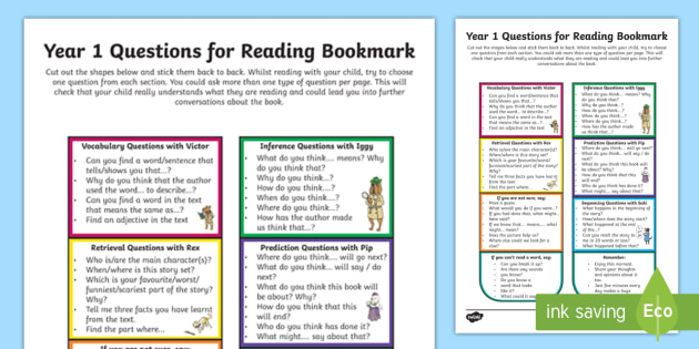 year 1 questions for reading bookmark question cards y1 comprehension. Black Bedroom Furniture Sets. Home Design Ideas