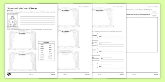 Romeo and Juliet Act II Activity Sheet, worksheet
