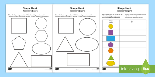 shape hunt worksheet activity sheet english romanian worksheet. Black Bedroom Furniture Sets. Home Design Ideas