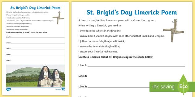 St. Brigid\'s Day Limerick Poem Activity Sheet - Saint, Brigid