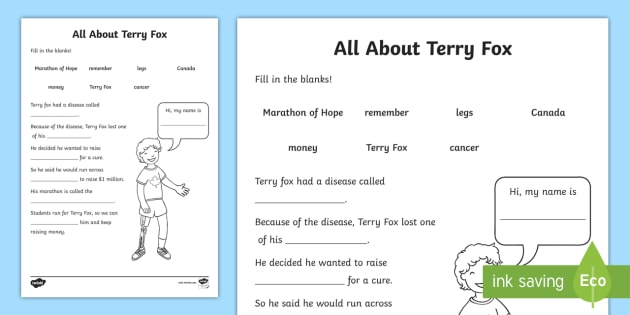 Terry Fox Fill in the Blanks Activity Sheet - Terry Fox, run, marathon, marathon of Hope, worksheet