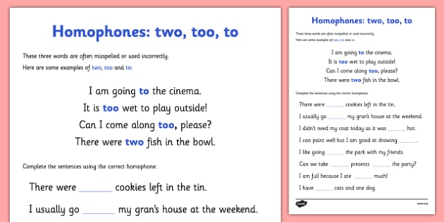 Homophones To Two Too Worksheet Homophones To Two Too