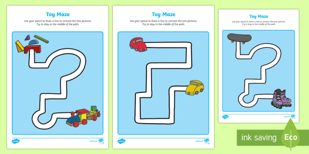 Toy Themed Pencil Control Path Activity Sheets- toys, pencil control
