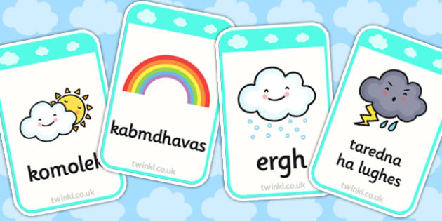 Weather Flashcards Cornish Translation - weather, flashcards