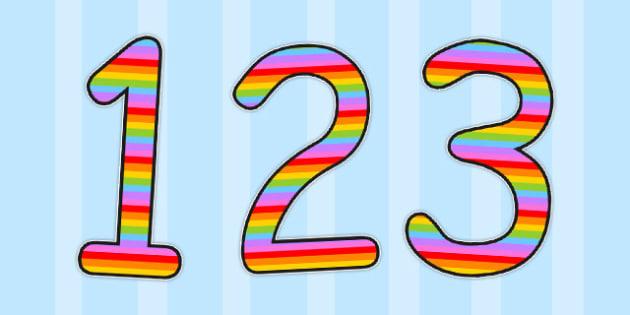German Display Numbers Multicoloured - display, numbers, german