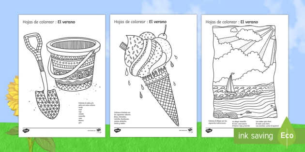 Summer Mindfulness Colouring Pages Spanish - painting ...