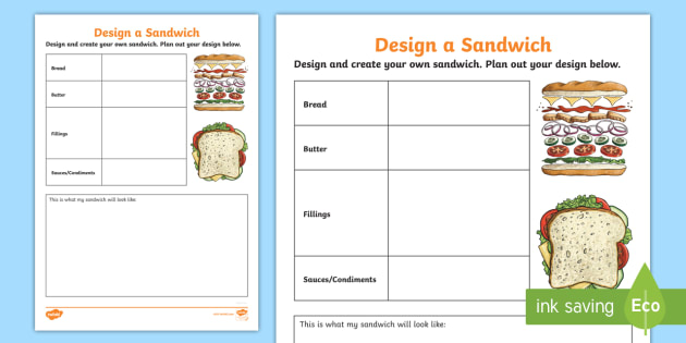 photo relating to Worksheet Design identified as Style and design a Sandwich Coming up with Worksheet / Worksheet - food stuff