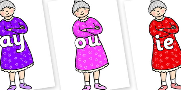 Phase 5 Phonemes on Enormous Turnip Old Woman - Phonemes, phoneme, Phase 5, Phase five, Foundation, Literacy, Letters and Sounds, DfES, display