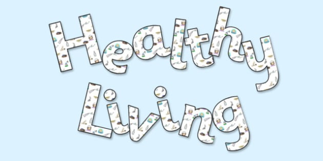 Healthy Living' Display Lettering - health, healthy, fitness