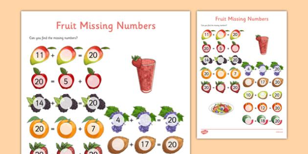 missing number addition to  worksheet  worksheet  missing  missing number addition to  worksheet  worksheet  missing numbers   addition