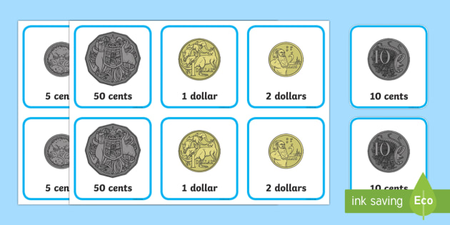 Coins Memory Card Game - Australian currency,  Australian money, Australian coins, ACMNA017, Australia