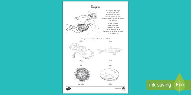Tangaroa and his Children Colouring Worksheet / Activity Sheet