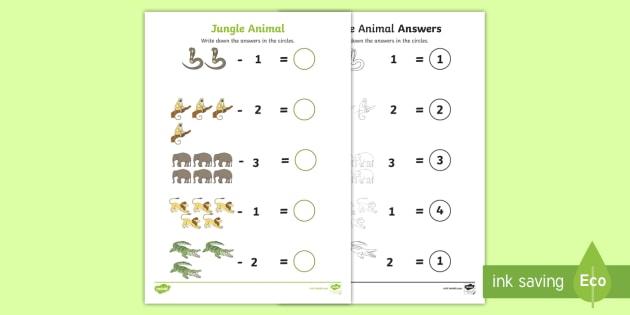 Jungle Animal Themed Subtraction Worksheet - walking through ...