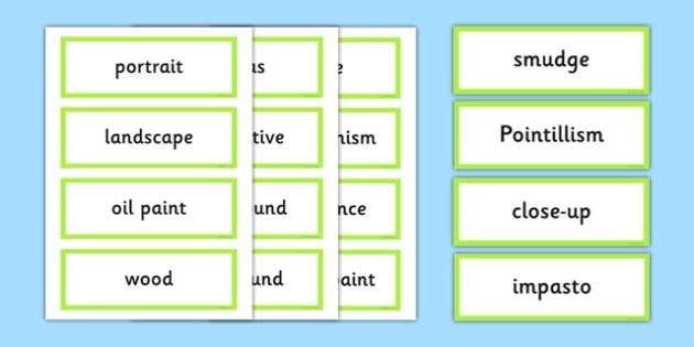 Art Appreciation Vocabulary Display Cards - art, appreciation, vocabulary, display, cards,