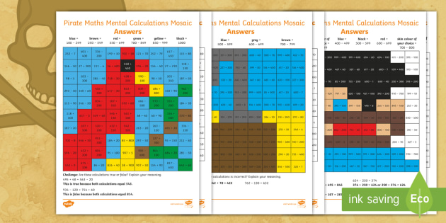 NEW * KS2 Pirate Maths Mental Addition and Subtraction