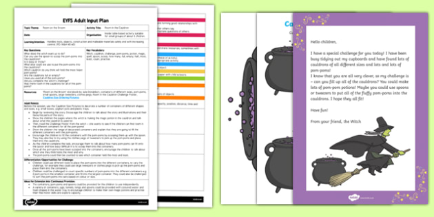 EYFS Room in the Cauldron Adult Input Plan and Resource Pack to Support Teaching on Room on the Broom