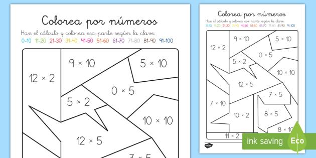 Colorear Con Números: Multiplicación