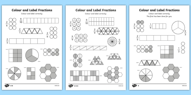 Colour and Label Fractions Worksheet - fractions, fractions ...