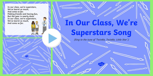 In Our Class, We're Superstars Song PowerPoint