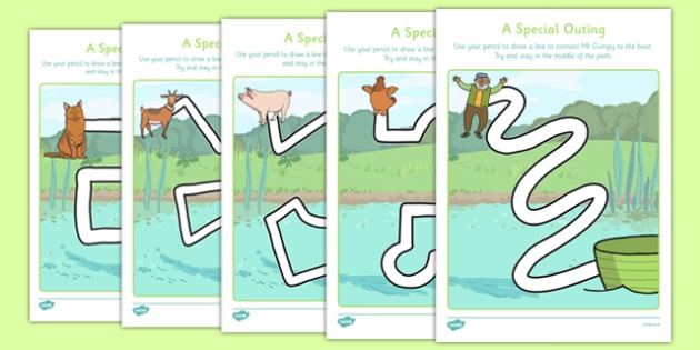 A Special Outing Pencil Control Path Worksheets - a special outing, my gumpy's outing, pencil control path, worksheets