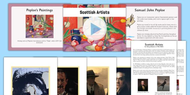 Scottish Artists Resource Pack - CfE, Scottish Artists, art, scotland, sir henry raeburn, samuel john peploe, jack vettriano, alison watt, douglas gordon