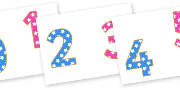 0-9 Display Numbers (Stars) - Display numbers, 0-9, numbers, stars, display numerals, display lettering, display numbers, display, cut out lettering, lettering for display, display numbers
