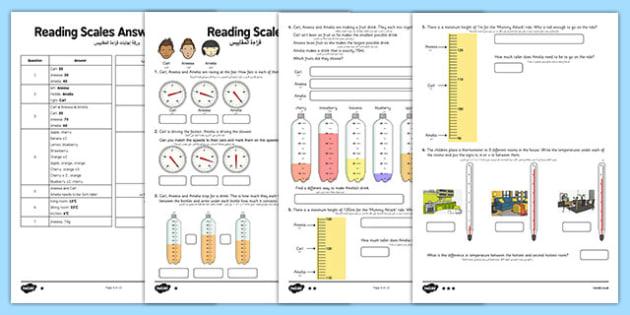 Reading Scales Activity Sheet Arabic Translation - arabic, reading, scales, activity, sheet, read, maths, worksheet