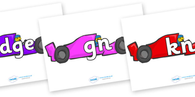 Silent Letters on Racing Cars - Silent Letters, silent letter, letter blend, consonant, consonants, digraph, trigraph, A-Z letters, literacy, alphabet, letters, alternative sounds