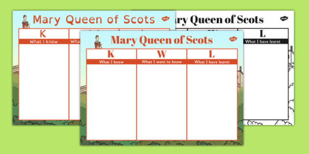 Mary Queen of Scots KWL Grid - mary, queen of scots, kwl, grid