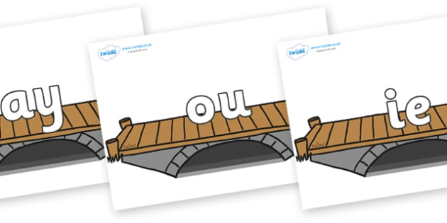 Phase 5 Phonemes on Bridges - Phonemes, phoneme, Phase 5, Phase five, Foundation, Literacy, Letters and Sounds, DfES, display