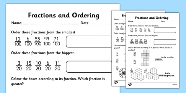 Fractions and Ordering Activity Sheet - fractions ordering worksheet tenths hundredths