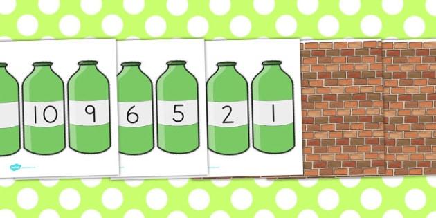 Ten Green Bottles Cut Outs - australia, cut outs, green, bottles