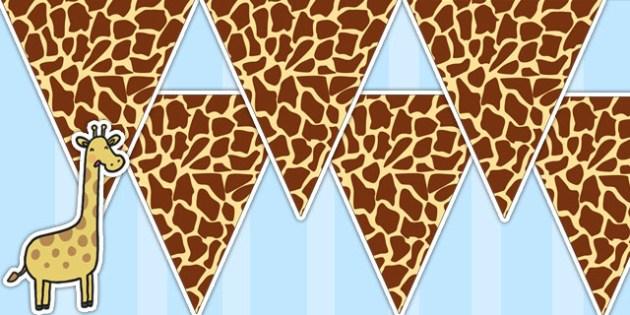 Giraffe Pattern Bunting - giraffe, animals, jungle, bunting