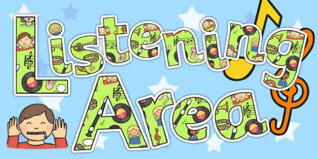 Listening Area Display Lettering - listening area, display lettering, display letters, lettering, display alphabet, lettering for display, alphabet letters