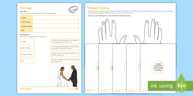Marriage Worksheet / Activity Sheets - religion, marriage