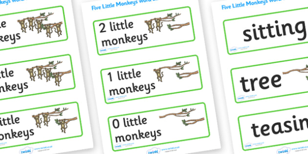 Five Little Monkeys Word Cards - Five Little Monkeys, nursery rhyme, rhyme, rhyming, nursery rhyme story, word cards, flashcards, cards, nursery rhymes, counting rhymes, taking away, subtraction, counting basckwards, Five Little Monkeys resources, on