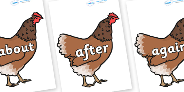 KS1 Keywords on Hens - KS1, CLL, Communication language and literacy, Display, Key words, high frequency words, foundation stage literacy, DfES Letters and Sounds, Letters and Sounds, spelling