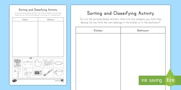 Sorting & Classifying Worksheet / Worksheet (teacher Made)