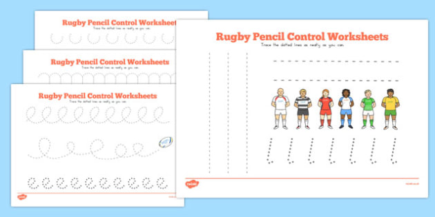 Rugby Pencil Control Worksheets - australia, rugby, pencil control