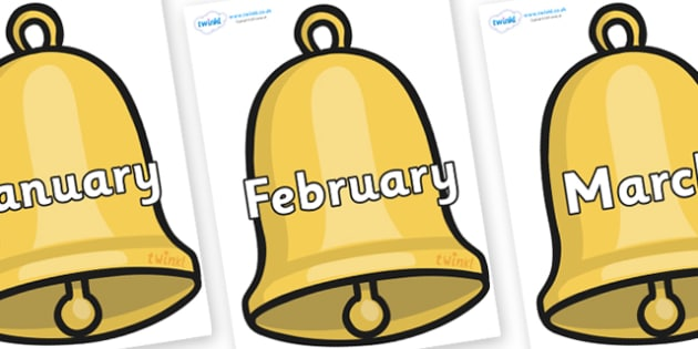 Months of the Year on Christmas Bell - Months of the Year, Months poster, Months display, display, poster, frieze, Months, month, January, February, March, April, May, June, July, August, September