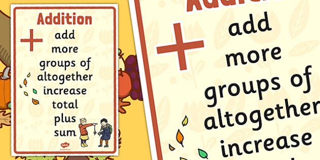 Autumn Themed Addition Vocabulary Display Poster - autumn, addition, vocabulary, display