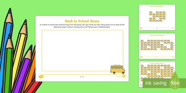 * NEW * Back to School Buses Maths Activity Sheets