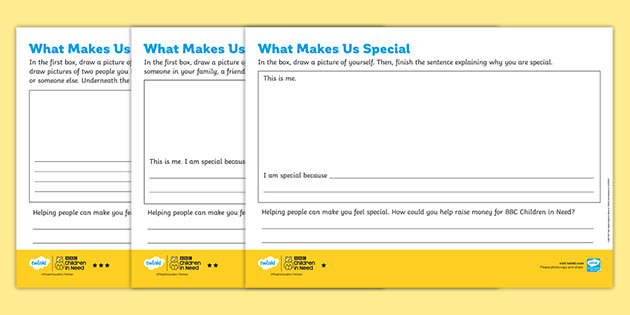 BBC Children in Need What Makes Us Special Differentiated Worksheets