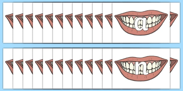 Alphabet on Teeth - alphabet, teeth, images, display, letters, sounds